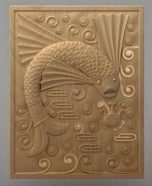 تابلو ماهی چوبی 1604