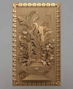 تابلو گل و گلدان چوبی 1605