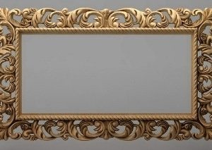 قاب آینه چهارگوش چوبی 1011