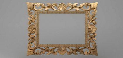 قاب آینه چهارگوش چوبی 1016