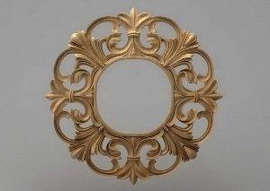 قاب آینه گرد چوبی 1208