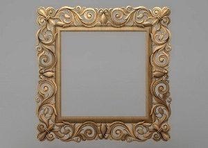 قاب آینه چهارگوش چوبی 1019