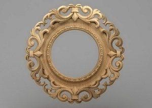 قاب آینه گرد چوبی 1207