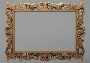 قاب آینه چهارگوش چوبی 1001