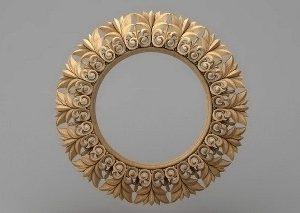 قاب آینه گرد چوبی 1203